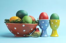 Free Happy Easter Still Life With Polka Dot Cups And Rainbow Color Eggs Stock Image - 29310911