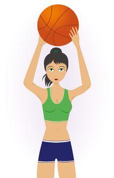 Free Girl Throwing A Basketball Royalty Free Stock Image - 29319756