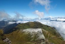Morning Mist In The Swiss Alps Stock Images