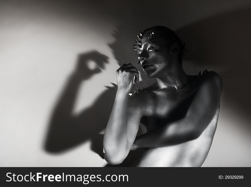 Art Silhouette Silver Painted Man S Body Shape In Shadows Free Stock Images Photos 29329299 Stockfreeimages Com