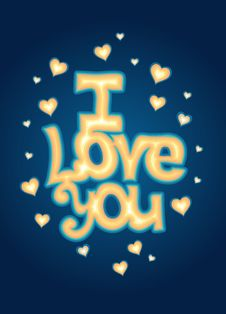 I Love You Lettering Royalty Free Stock Image