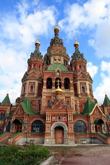 Cathedral Of Saints Peter And Paul Church In Peterhof Stock Photo