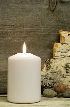Candle, Birch Bark And Stones