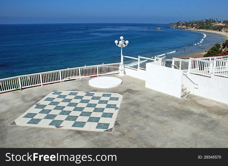 Large chess board on overlook of Main Beach, Laguna Beach.