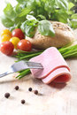 Free Vegetables, Bread And Meat On A Fork Stock Images - 29357234