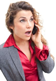 Free Beautiful Business Woman Talking On Cellphone In Shock Stock Images - 29350444