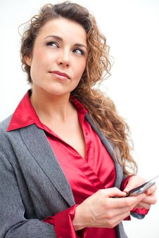 Free Beautiful Business Woman Holding Cellphone Text Messaging Stock Image - 29350461