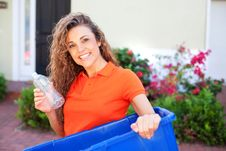 Free Beautiful Female Holding Recycling Bin Stock Photos - 29350473