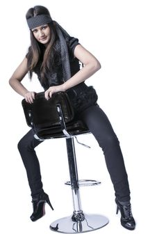 Free Young Woman Sitting On The Bar Chair Royalty Free Stock Image - 29356276