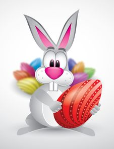 Easter Rabbit With Colorful Eggs Stock Photography