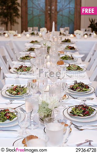 Free Vertical: Salads Served On White Table Cloth For Wedding Reception Royalty Free Stock Photos - 29364728