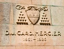 Coat Of Arms And The Date Of The Life Of Cardinal Mercier Statue Stock Photo