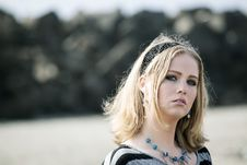 Free Young Woman With Beautiful Blue Eyes At The Beach Royalty Free Stock Photography - 29366737