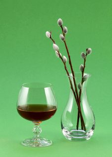 Glass Of Wine And A Transparent Vase Stock Photo