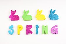 Free Glittery Spring With Bunnies On White Royalty Free Stock Photos - 29372388