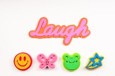 The Word Laugh With Foam Graphics Stock Photos