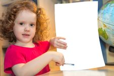 Little Girl Holding A Blank Paper