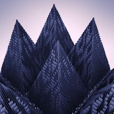Abstract Violet Mountain Pyramid Structure Royalty Free Stock Images