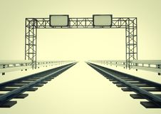 Two Railroads In Corridor With Construction Royalty Free Stock Photo