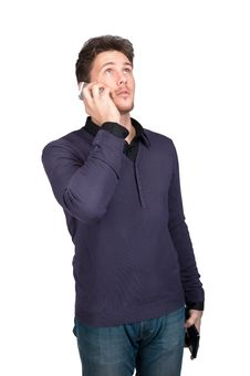 The Man On The Phone Stock Photography