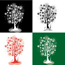 Free Kit With Snowflakes Trees Royalty Free Stock Photos - 29378718