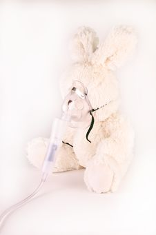 Oxygen Mask On A Rabbit Stock Image