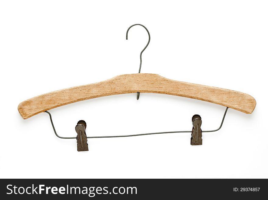 Old wooden coat hanger  on white