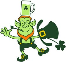 Free Green Leprechaun Balancing With A Glass Of Beer Over His Head Royalty Free Stock Images - 29388159