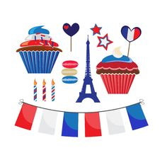 Free Icons For French Style Party Royalty Free Stock Image - 29390136