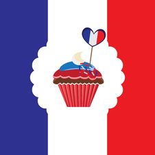 Free Cupcake In French Traditional Colors Royalty Free Stock Photo - 29390335