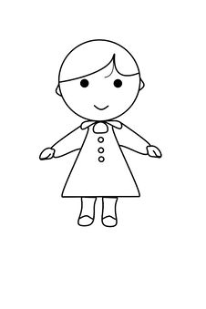 Simple Cartoon Of A Cute Girl Royalty Free Stock Images