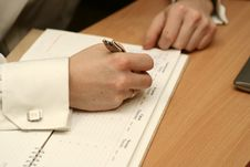The Man S Hand Writes Stock Image