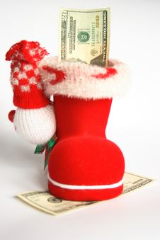 Red Boot With Money Royalty Free Stock Photo