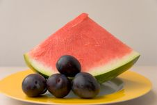 Free Watermelon  On The Plate,close Stock Image - 2946271