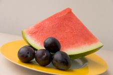 Free Watermelon  On The Plate,close Royalty Free Stock Image - 2946276