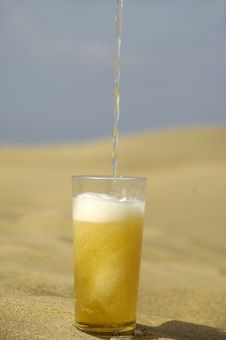 Serving Beer In Desert Stock Image