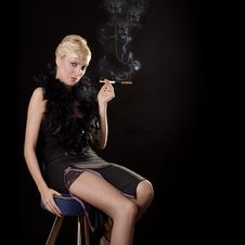 Smoking Girl Royalty Free Stock Images