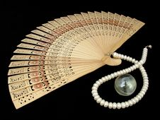 Chinese Wooden Fan Royalty Free Stock Photo