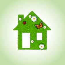 Free Home Icon From Grass Background Stock Image - 29405141