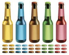 Labeled Beer Bottles Royalty Free Stock Photo