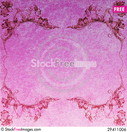 Free Pansy Floral Frame Against Pink Floral Background Royalty Free Stock Image - 29411006
