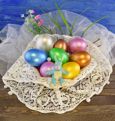 Free Easter Eggs With Rabbit Stock Photo - 29410240
