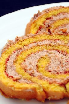 Hazelnuts Cream Roll Cake Royalty Free Stock Photo