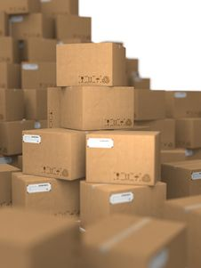 Free Stacks Of Cardboard Boxes. Royalty Free Stock Photo - 29413615