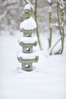 Free Japanese Pagoda In Snow Stock Images - 29414974