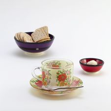 Free Cup With Saucer And Bowl With Cookies Stock Image - 29422891