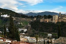 Free Alhambra And Snowing Sierra Nevada Mountains Under A Lenticular Royalty Free Stock Photography - 29445177