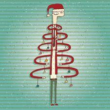 Funny Human Christmas Tree Greeting Card Royalty Free Stock Photos