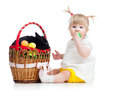 Free Funny Baby Girl With Easter Bunny In Basket Stock Photo - 29455440
