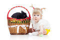 Free Funny Baby Girl With Easter Bunny In Basket Stock Photo - 29455460